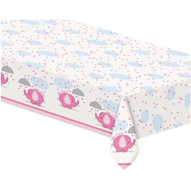 """Obrus foliowy """"Baby Shower - Słonik"""", różowy, UNIQUE, 137 x 213 cm"""
