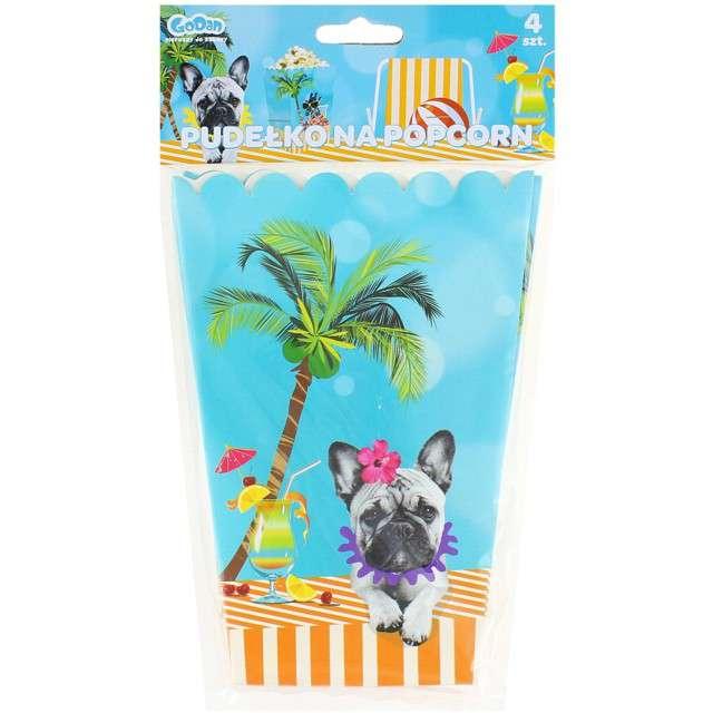 Pudełka na popcorn Hawajskie Party GODAN 4 szt