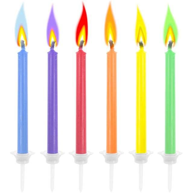 """Świeczki urodzinowe """"Kolorowe Płomienie"""", mix, Godan, 6 szt"""