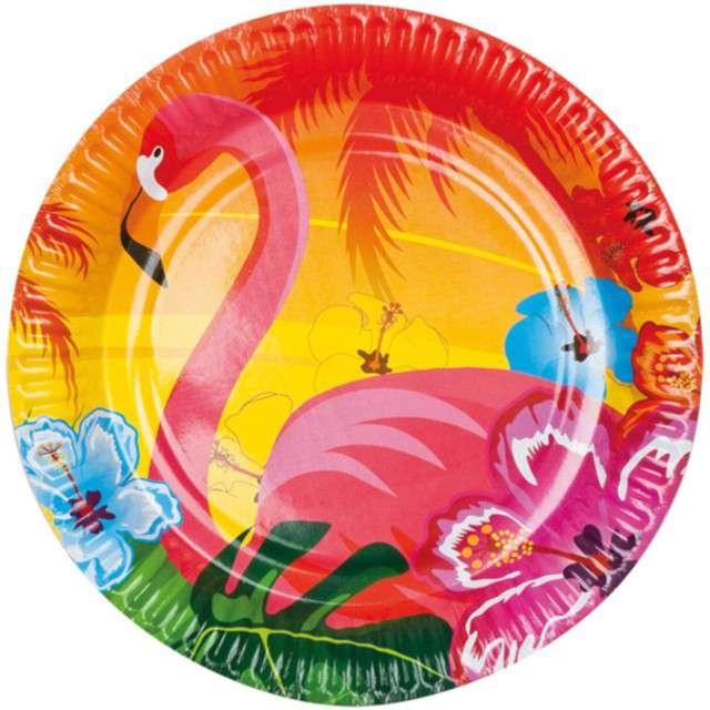 """Talerzyki papierowe """"Hawajskie Flamingi"""", Boland, 23 cm, 6 szt"""