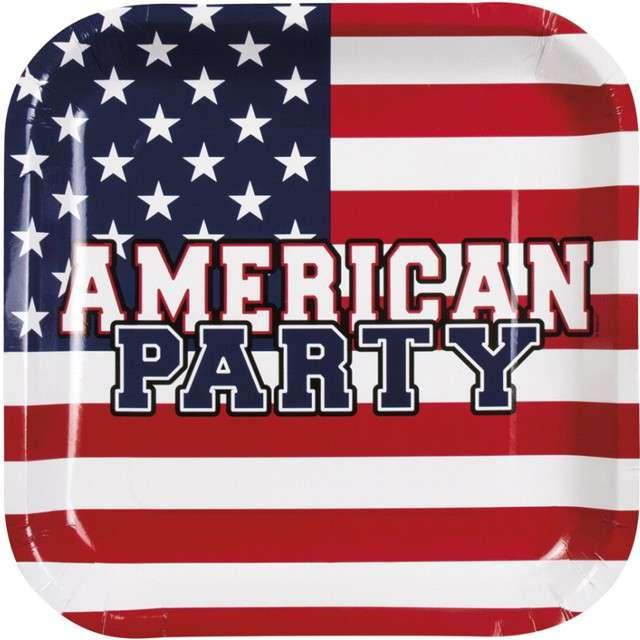 """Talerzyki papierowe """"USA - American Party"""", Boland, 25 x 25 cm, 6 szt"""