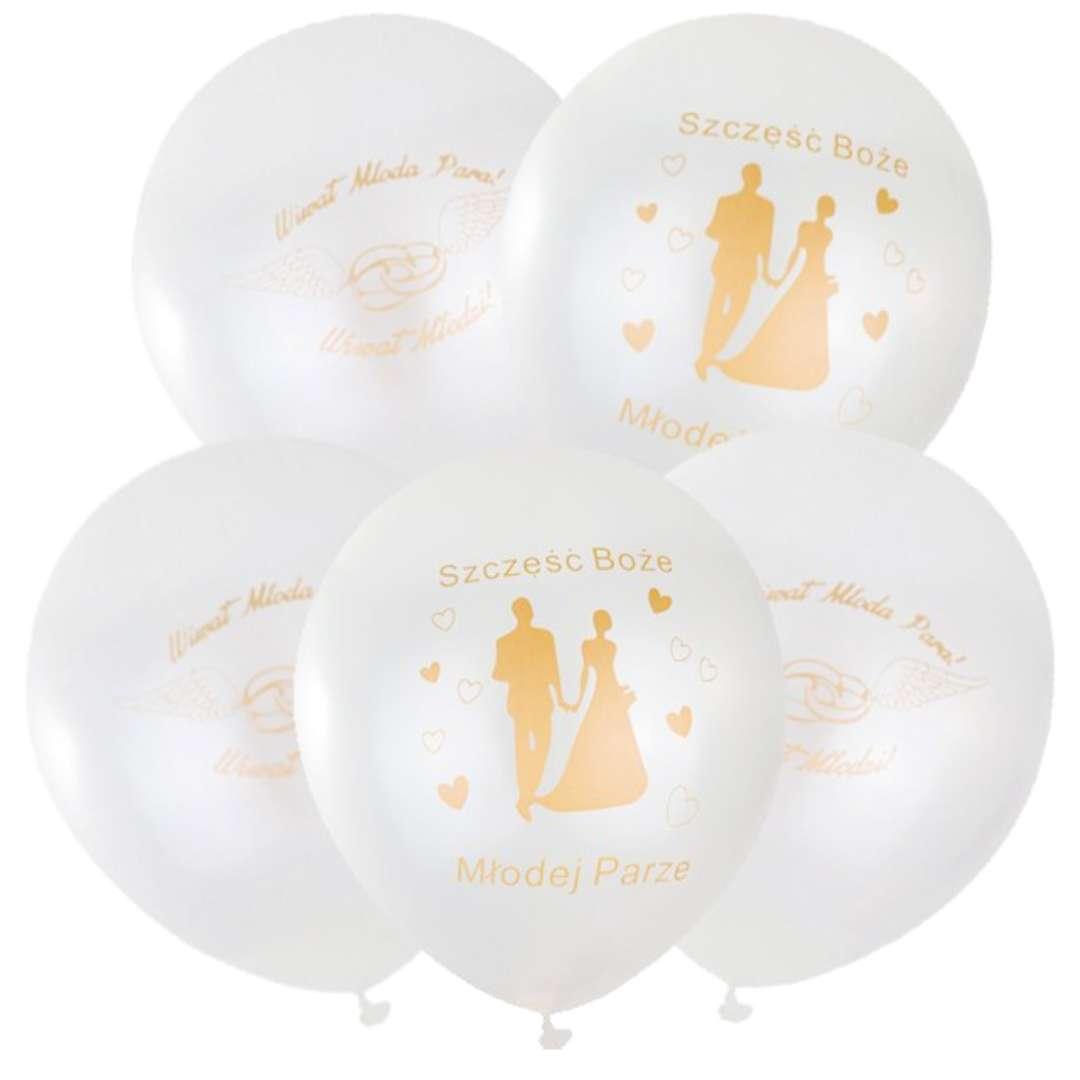 """Balony """"Obrączki"""", białe, Czakos, 12"""", 5 szt"""