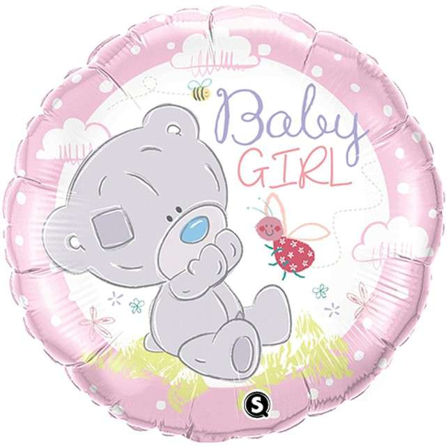 "Balon foliowy ""Baby Girl - Misiu"", QUALATEX, 18"" RND"
