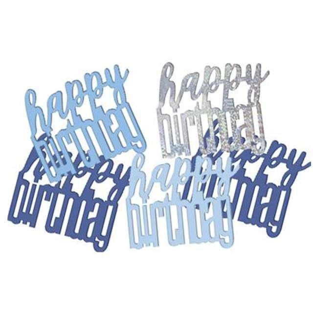 "Konfetti ""Glitz Happy Birthday"", niebiesko-srebrne, UNIQUE, 142 g"