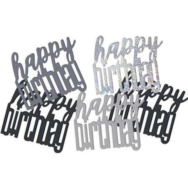 """Konfetti """"Glitz Happy Birthday"""", czarno-srebrne, UNIQUE, 142 g"""