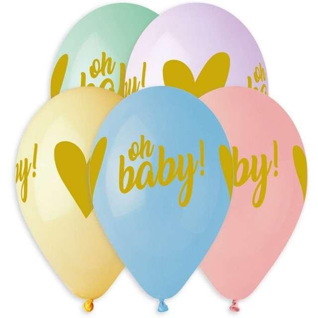 "Balony ""Oh baby z sercem"", 13"", Gemar, 5 szt."