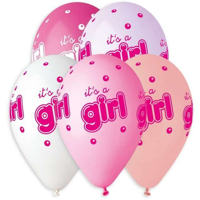 "Balony ""Baby shower - its a girl"", różowe, 13"", Gemar, 5 szt."