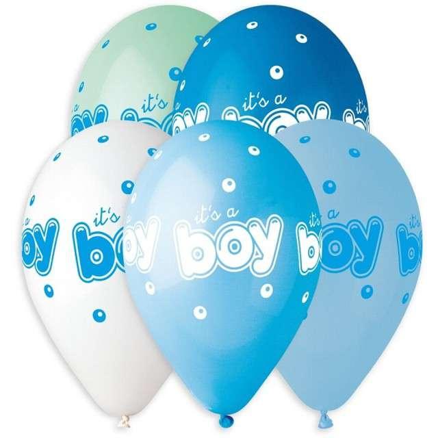 """Balony """"Baby shower - its a boy"""", niebieskie, 13"""", Gemar, 5 szt."""