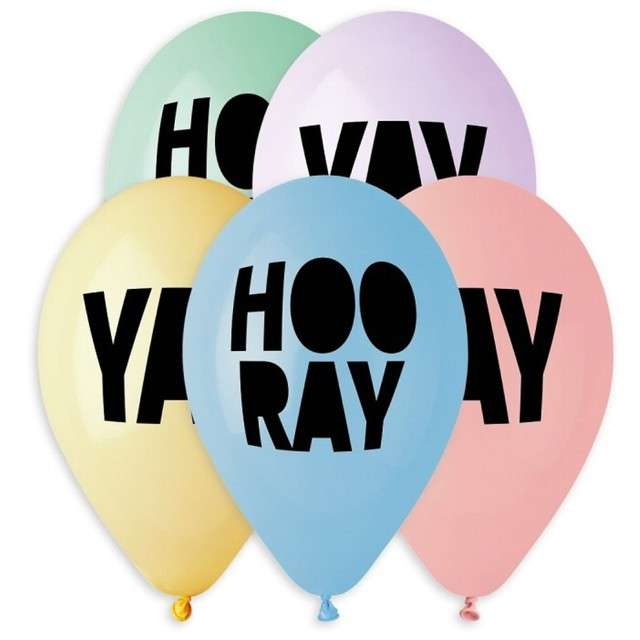 "Balony ""Yay, Hooray"", 13"", Gemar, 5 szt."