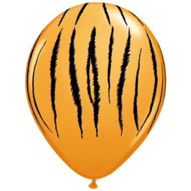 """Balony """"Tygrysie Paski"""", pomarańczowy pastel, QUALATEX, 11"""", 25 szt"""
