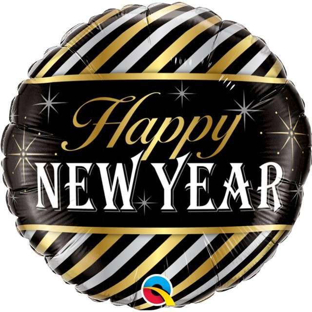 "Balon foliowy ""Happy New Year - paski"", QUALATEX, 18"" RND"