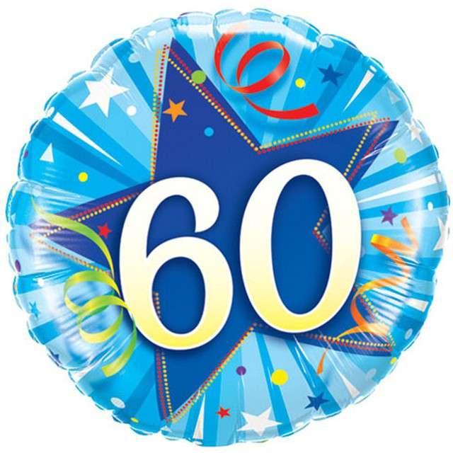 """Balon foliowy """"60 Urodziny"""", niebieski, QUALATEX, 18"""" RND"""