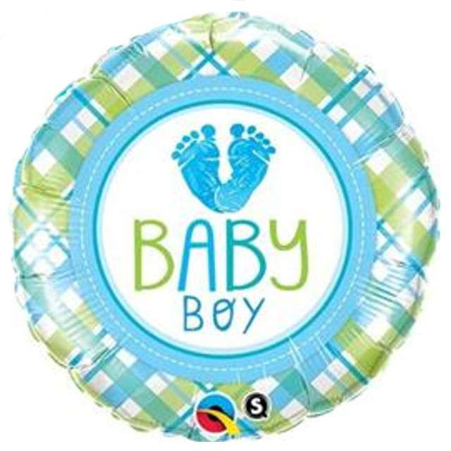 "Balon foliowy ""Baby Shower Boy - dwustronny"", Qualatex, 18"", RND"