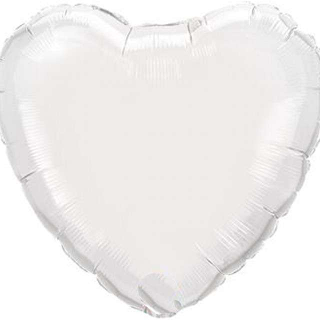 "Balon foliowy ""Serce"", biały, Qualatex, 9"", HRT"
