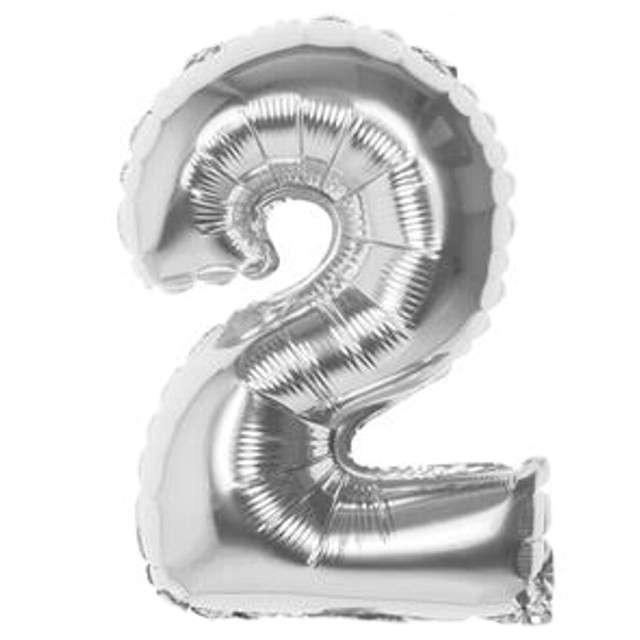 """Balon foliowy """"Cyfra 2"""", srebrny, BOLAND, 14"""""""
