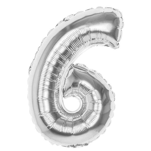 """Balon foliowy """"Cyfra 6"""", srebrny, BOLAND, 14"""""""
