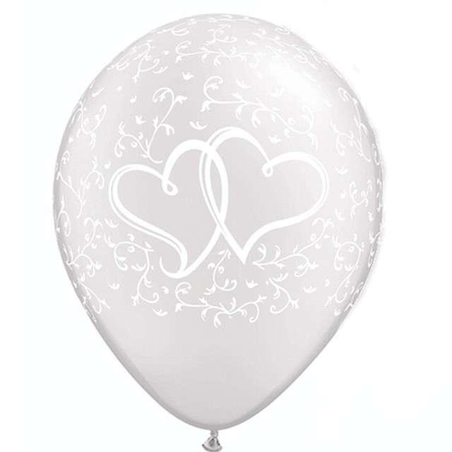 """Balony """"Stylowe serca"""", perłowy metalik, Qualatex, 11"""", 25 szt"""