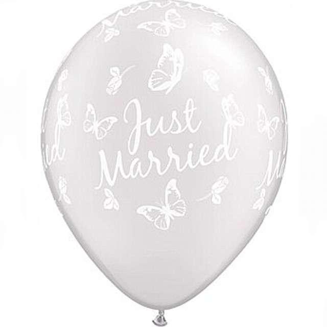 """Balony """"Just Married"""", perłowy metalik, Qualatex, 11"""", 25 szt"""