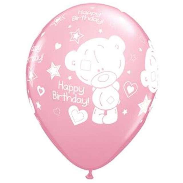 """Balony """"Happy Birthday - Miś"""", różowe, QUALATEX, 11"""", 25 szt"""