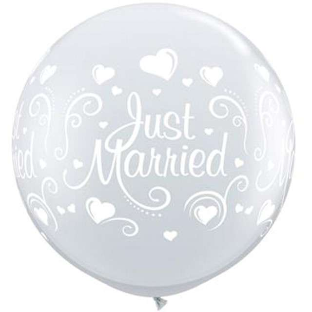 "Balon ""Just Married - Nowożeńcy"", transparentne, Qualatex, 36 cali, 2 szt"