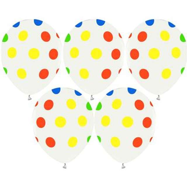 Balony Helium Formula kolorowe kropki Godan 12 5szt.