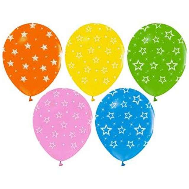 """Balony """"Helium Formula"""", kolorowe gwiazdki, Godan, 12"""", 5 szt."""