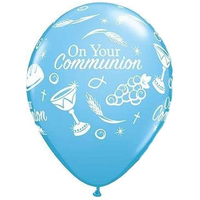 """Balony """"Komunia symbole"""", niebieskie pastel, Qualatex, 11"""", 25 szt"""