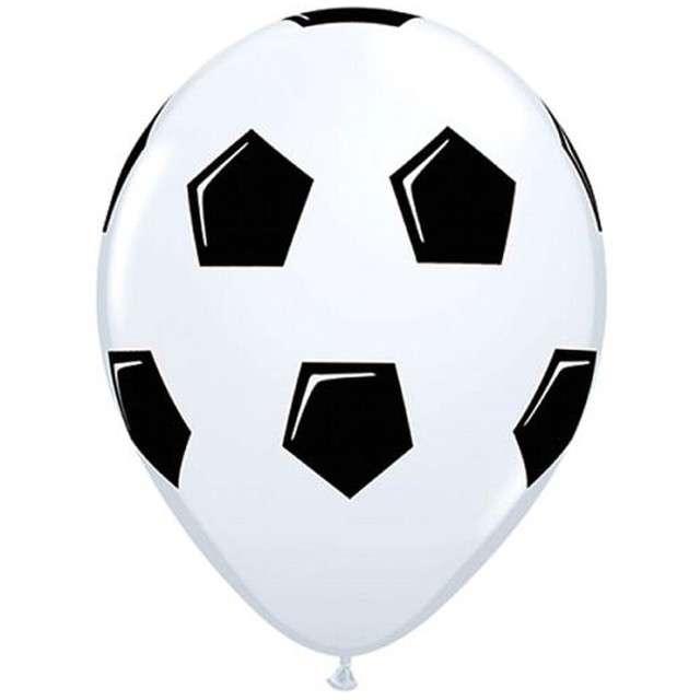 "Balony ""Piłka nożna"", białe pastel, Qualatex, 11"", 25 szt"