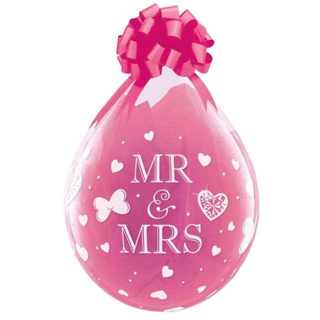 Balony Crystal - Mr & Mrs różowe Qualatex 18 25szt