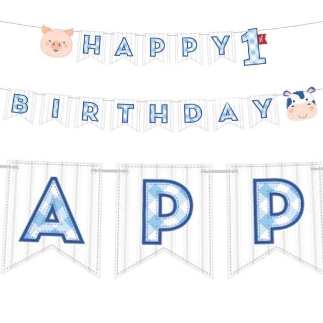 """Baner """"Farmhouse Pierwsze Urodziny"""", niebieski, CreativeConverting, 240 cm"""