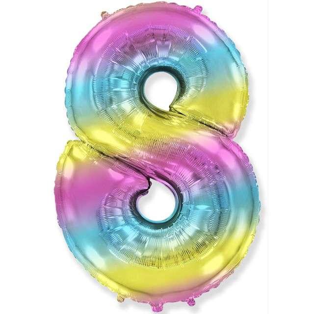 "Balon foliowy ""Cyfra 8 - Gradient"", pastelowy, FLEXMETAL, 34"""