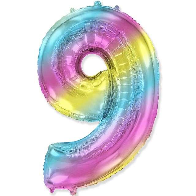 "Balon foliowy ""Cyfra 9 - Gradient"", pastelowy, FLEXMETAL, 34"""