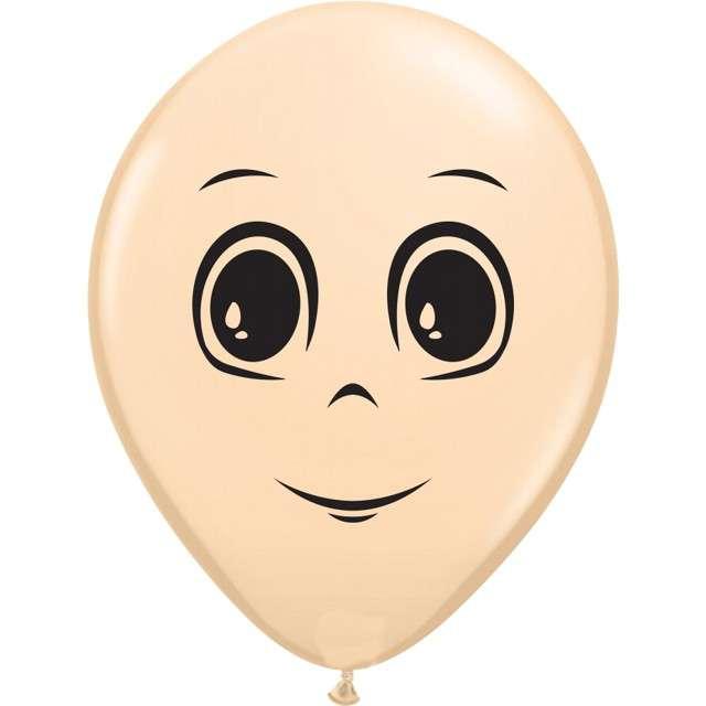 "Balony ""Twarz męska"", cielisty, Qualatex, 16"", 50 szt."