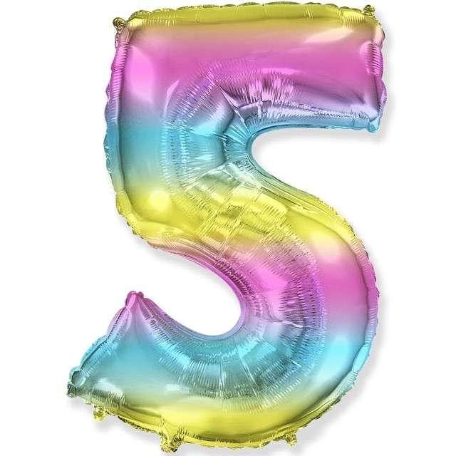 "Balon foliowy ""Cyfra 5 - Gradient"", pastelowy, FLEXMETAL, 34"""