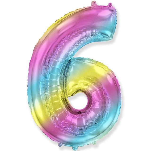 "Balon foliowy ""Cyfra 6 - Gradient"", pastelowy, FLEXMETAL, 34"""