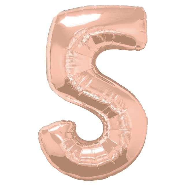 """Balon foliowy """"Cyfra 5"""", różowo-złoty, QUALATEX, 34"""""""