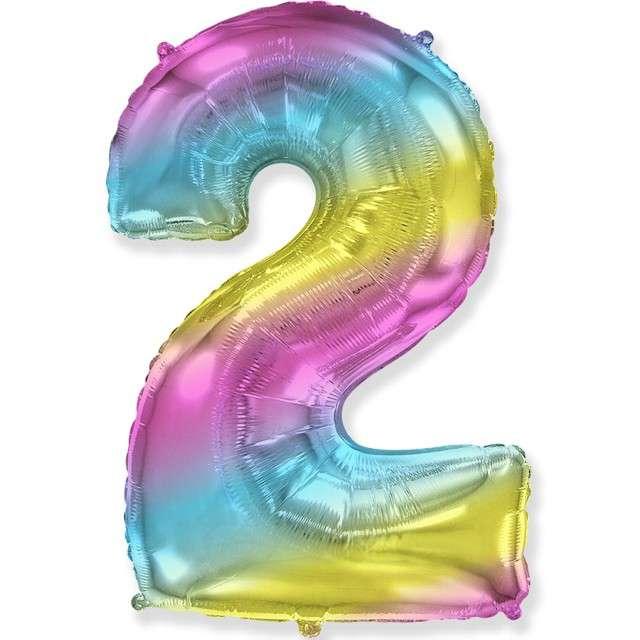 Balon foliowy Cyfra 2 - Gradient pastelowy FLEXMETAL 33