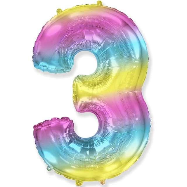 "Balon foliowy ""Cyfra 3 - Gradient"", pastelowy, FLEXMETAL, 34"""