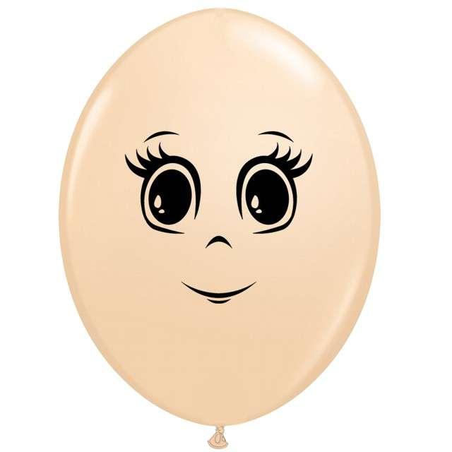 Balony Twarz kobiety cieliste Qualatex 12 50szt.
