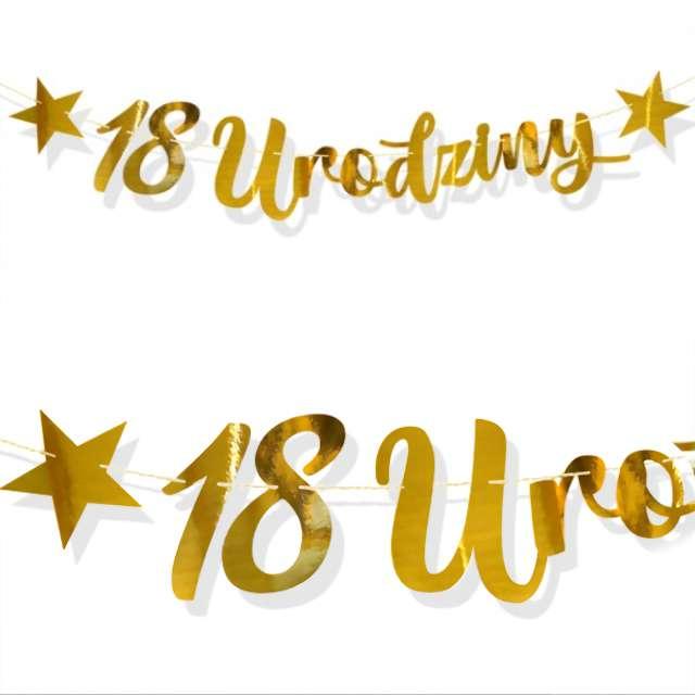 """Baner """"18 Urodziny"""", złoty, DekoracjePolska, 100 cm"""