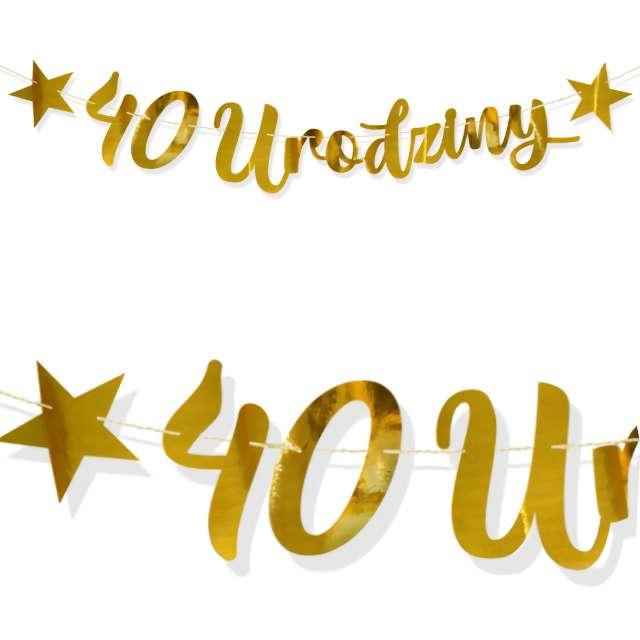 """Baner """"40 Urodziny"""", złoty, DekoracjePolska, 100 cm"""