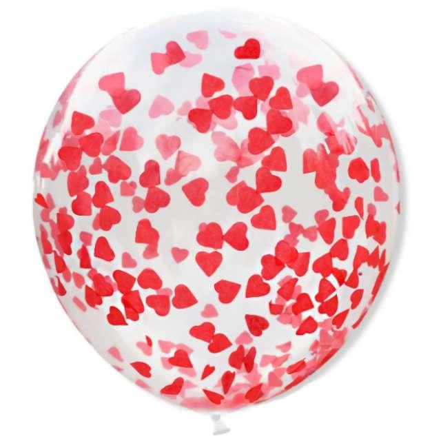 """Balon """"Konfetti - czerwone serduszka"""", transparentny, DekoracjePolska, 12"""", 5 szt"""