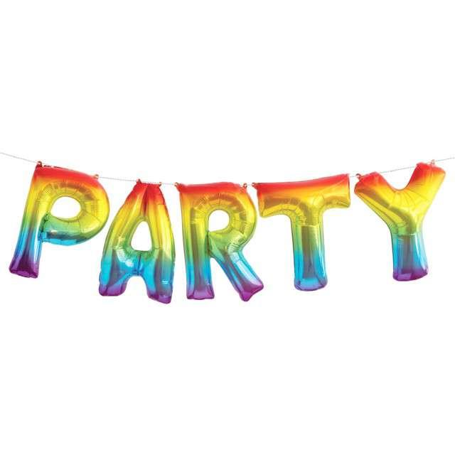 """Balon foliowy """"PARTY"""", tęczowy, Unique, 14"""" SHP"""