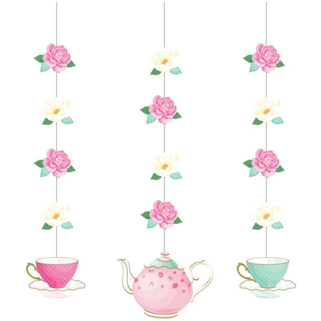 "Dekoracja wisząca ""Floral Tea Party"", różowa, Godan, 3 szt"