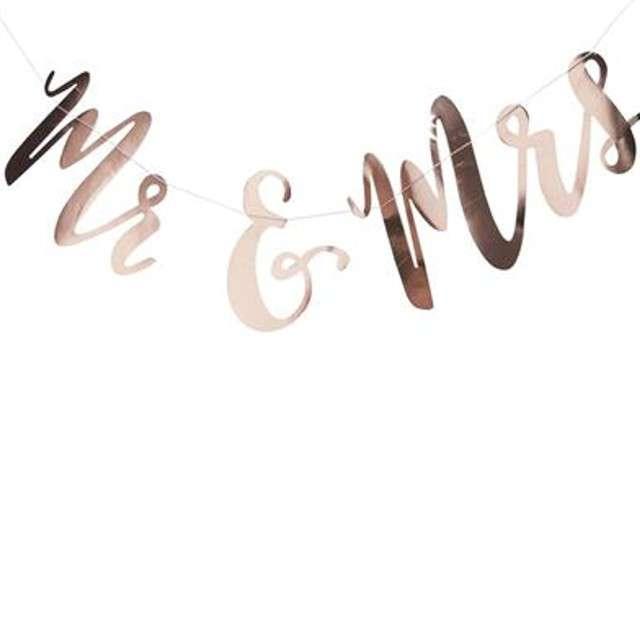 "Baner ""Mr & Mrs"", różowe złoto, Godan, 150 cm"