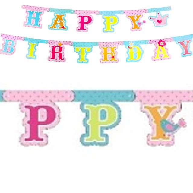 """Baner """"Happy Birthday - Księżniczka"""", różowy mix, Godan,"""