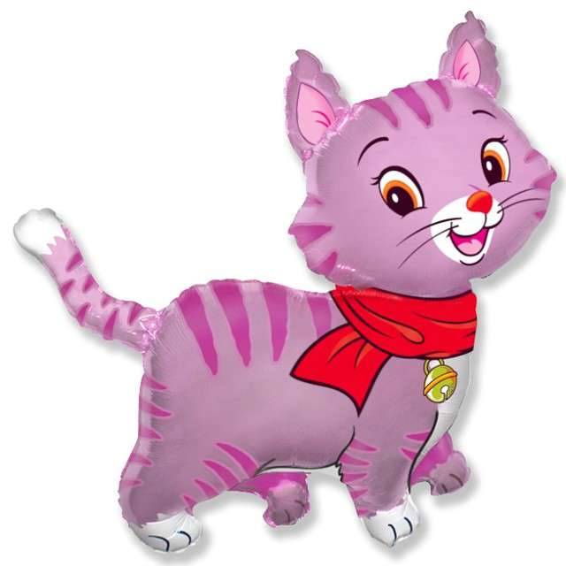 """Balon foliowy """"Kotek w szalu"""", różowy, FLEXMETAL, 24"""" SHP"""
