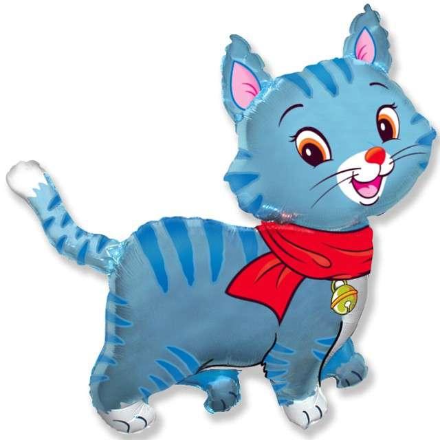 """Balon foliowy """"Kotek w szalu"""", niebieski, FLEXMETAL, 24"""" SHP"""