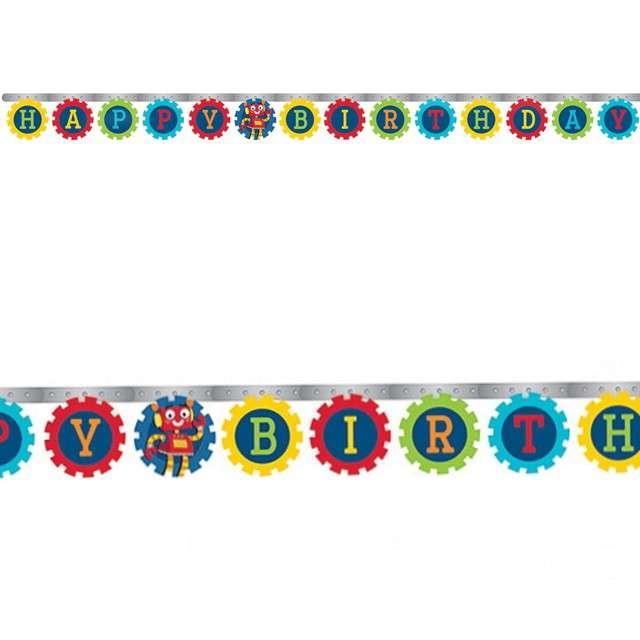 """Baner """"Happy Birthday - Roboty"""", Godan, 218 cm"""