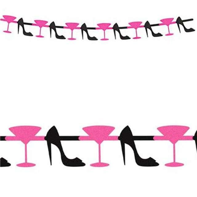 "Baner ""Pantofelek i Martini, brokatowe"", różowy, Godan, 167 cm"